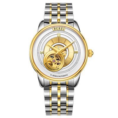 BUREI Male Auto Mechanical WatchMens Watches<br>BUREI Male Auto Mechanical Watch<br><br>Band material: Stainless Steel<br>Band size: 21 x 1.8 cm / 8.27 x 0.71 inches<br>Case material: Stainless Steel<br>Clasp type: Folding clasp with safety<br>Dial size: 4.1 x 4.1 x 1.15 cm / 1.61 x 1.61 x 0.45 inches<br>Display type: Analog<br>Movement type: Automatic mechanical watch<br>Package Contents: 1 x Watch<br>Package size (L x W x H): 28.00 x 8.00 x 3.50 cm / 11.02 x 3.15 x 1.38 inches<br>Package weight: 0.232 kg<br>Product size (L x W x H): 21.00 x 4.10 x 1.15 cm / 8.27 x 1.61 x 0.45 inches<br>Product weight: 0.142 kg<br>Shape of the dial: Round<br>Watch color: White and Golden Steel Band, Rose Gold and White Steel Band, Silver and Black Steel Band, Silver and White Steel Band, White and Golden Leather Band, Rose Gold and White Leather Band,Silver and Black<br>Watch mirror: Mineral glass<br>Watch style: Business<br>Watches categories: Male table<br>Water resistance : 50 meters