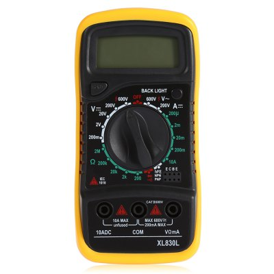 XL830L Digital MultimeterMultimeters &amp; Fitting<br>XL830L Digital Multimeter<br><br>AC Current: 2mA / 20mA / 200mA / 20A<br>AC Voltage: 200mV / 2V / 20V / 200V / 600V<br>Auto power off: Yes<br>Backlit Display: Yes<br>Capacitance: 2nF / 20nF / 200nF / 2uF / 20uF / 200uF<br>Data Hold: Yes<br>DC Current: 2mA / 20mA / 200mA / 20A<br>DC Voltage: 200mV / 2V / 20V / 200V / 600V<br>Diode Test: Yes<br>Function Protection: Yes<br>Low Battery Indicator: Yes<br>Max. Display: 1999<br>Model: XL830L<br>Package Contents: 1 x Multimeter, 2 x Test Lead Probe ( 57cm ), 1 x English User Manual<br>Package size (L x W x H): 16.00 x 11.00 x 5.80 cm / 6.3 x 4.33 x 2.28 inches<br>Package weight: 0.220 kg<br>Product size (L x W x H): 14.00 x 7.00 x 3.30 cm / 5.51 x 2.76 x 1.3 inches<br>Product weight: 0.130 kg<br>Resistance : 200ohm / 2Kiloohm / 20Kiloohm / 200Kiloohm / 2Megohm / 20Megohm / 200Megohm / 2000Megohm