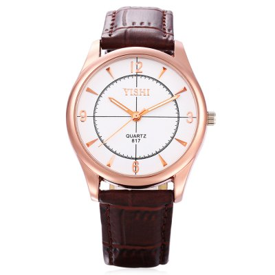 YISHI 817 Male Quartz WatchMens Watches<br>YISHI 817 Male Quartz Watch<br><br>Band material: Leather<br>Band size: 25 x 1.8 cm / 9.84 x 0.71 inches<br>Brand: YISHI<br>Case material: Alloy<br>Clasp type: Pin buckle<br>Dial size: 4 x 4 x 0.7 cm / 1.57 x 1.57 x 0.28 inches<br>Display type: Analog<br>Movement type: Quartz watch<br>Package Contents: 1 x Watch<br>Package size (L x W x H): 26.00 x 5.00 x 1.70 cm / 10.24 x 1.97 x 0.67 inches<br>Package weight: 0.072 kg<br>Product size (L x W x H): 25.00 x 4.00 x 0.70 cm / 9.84 x 1.57 x 0.28 inches<br>Product weight: 0.041 kg<br>Shape of the dial: Round<br>Watch color: White + Brown, Black + Brown, White, Black<br>Watch style: Casual<br>Watches categories: Male table<br>Wearable length: 8.27 inch