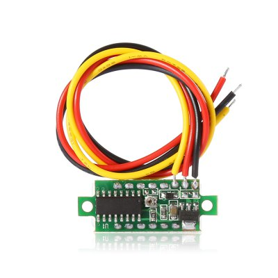 DC 0 - 100V 0.28 inch LED Voltmeter ModuleDIY Parts &amp; Components<br>DC 0 - 100V 0.28 inch LED Voltmeter Module<br><br>Package Contents: 1 x Module<br>Package Size(L x W x H): 8.00 x 7.00 x 3.00 cm / 3.15 x 2.76 x 1.18 inches<br>Package weight: 0.020 kg<br>Product Size(L x W x H): 3.00 x 1.10 x 1.00 cm / 1.18 x 0.43 x 0.39 inches<br>Product weight: 0.002 kg<br>Type: Electric Components