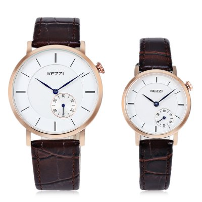 KEZZI K - 1636 Couple WatchesCouples Watches<br>KEZZI K - 1636 Couple Watches<br><br>Watches categories: Couple tables<br>Watch style: Fashion<br>Watch color: Black, White + Black, White, White + Brown<br>Shape of the dial: Round<br>Movement type: Quartz watch<br>Display type: Analog<br>Case material: Alloy<br>Band material: Leather<br>Clasp type: Pin buckle<br>Package weight: 0.090 kg<br>Package size (L x W x H): 25.00 x 5.00 x 3.00 cm / 9.84 x 1.97 x 1.18 inches<br>The male dial dimension (L x W x H): 4 x 4 x 0.8 cm / 1.57 x 1.57 x 0.31 inches<br>The male watch band dimension (L x W): 23.8 x 2 cm / 9.37 x 0.79 inches<br>The male watch weight: 0.030g<br>The male watch size (L x W x H): 23.8 x 4 x 0.8 cm / 9.37 x 1.57 x 0.31 inches<br>The female dial dimension (L x W x H): 2.8 x 2.8 x 0.7 cm / 1.10 x 1.10 x 0.28 inches<br>The female watch band dimension (L x W): 21.8 x 1.4 cm / 8.58 x 0.55 inches<br>The female watch weight: 0.020g<br>The female size (L x W x H): 21.8 x 2.8 x 0.7 cm / 8.58 x 1.10 x 0.28 inches<br>Package Contents: 1 x KEZZI K - 1636 Couple Watches