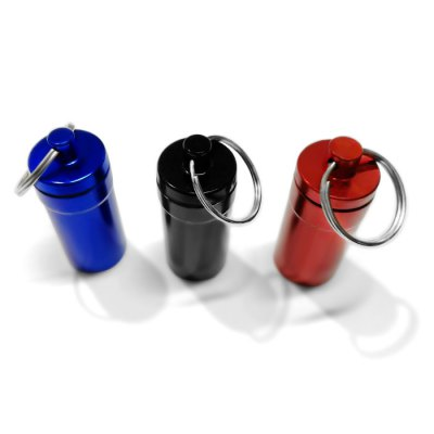M Size Air Tight Portable Aluminum Alloy Pill Container Drug Holder with KeychainEmergency Shelter and First Aid<br>M Size Air Tight Portable Aluminum Alloy Pill Container Drug Holder with Keychain<br><br>Color: Black,Blue,Red<br>For: Travel, Other, Hiking, Fishing, Cycling, Climbing, Camping, Adventure<br>Material: Metal<br>Package Contents: 1 x Pill Shaped Keychain<br>Package size (L x W x H): 9.00 x 6.00 x 2.30 cm / 3.54 x 2.36 x 0.91 inches<br>Package weight: 0.027 kg<br>Product size (L x W x H): 5.30 x 2.50 x 2.30 cm / 2.09 x 0.98 x 0.91 inches<br>Product weight: 0.024 kg<br>Type: Survival Kits