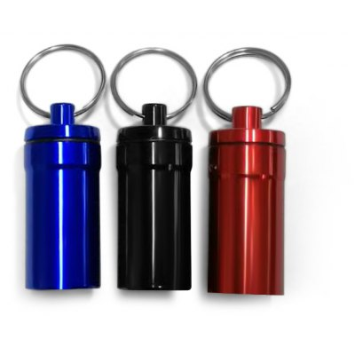 Pill Shaped Metal Keychain Waterproof Stash Case