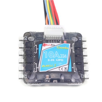 Sunrise Model Cicada BLHELI - S 4-in-1 10A Brushless ESCESC<br>Sunrise Model Cicada BLHELI - S 4-in-1 10A Brushless ESC<br><br>Burst Current: 15A<br>Continuous Current: 10A<br>Firmware: BLHeli-S<br>Functions: DShot600, Multishot, Oneshot125, Oneshot42<br>Input Voltage: 2 - 3S<br>Package Contents: 1 x ESC<br>Package size (L x W x H): 20.00 x 11.00 x 1.50 cm / 7.87 x 4.33 x 0.59 inches<br>Package weight: 0.030 kg<br>Product size (L x W x H): 2.70 x 2.70 x 0.60 cm / 1.06 x 1.06 x 0.24 inches<br>Product weight: 0.013 kg<br>Type: ESC