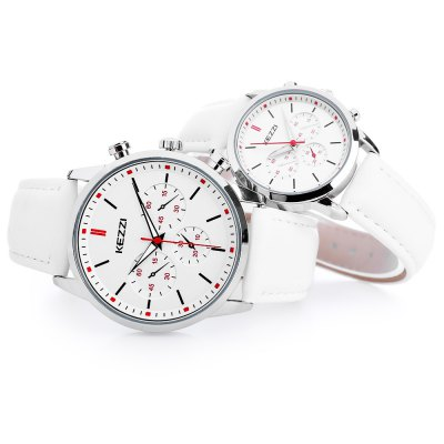 KEZZI K - 1619 Couple WatchesCouples Watches<br>KEZZI K - 1619 Couple Watches<br><br>Band material: PU Leather<br>Brand: Kezzi<br>Case material: Alloy<br>Clasp type: Pin buckle<br>Display type: Analog<br>Movement type: Quartz watch<br>Package Contents: 1 x KEZZI K - 1619 Couple Watches<br>Package size (L x W x H): 26.00 x 5.00 x 2.00 cm / 10.24 x 1.97 x 0.79 inches<br>Package weight: 0.113 kg<br>Shape of the dial: Round<br>The female dial dimension (L x W x H): 3.1 x 3.1 x 0.9 cm / 1.22 x 1.22 x 0.35 inches<br>The female size (L x W x H): 23 x 3.1 x 0.9 cm / 9.06 x 1.22 x 0.35 inches<br>The female watch band dimension (L x W): 23 x 1.6 cm / 9.06 x 0.63 inches<br>The female watch weight: 28g<br>The male dial dimension (L x W x H): 4 x 4 x 1.2 cm / 1.57 x 1.57 x 0.47 inches<br>The male watch band dimension (L x W): 25 x 2.2 cm / 9.84 x 0.87 inches<br>The male watch size (L x W x H): 25 x 4 x 1.2 cm / 9.84 x 1.57 x 0.47 inches<br>The male watch weight: 45g<br>Watch color: White, Gray, Red + Green<br>Watch style: Fashion<br>Watches categories: Couple tables