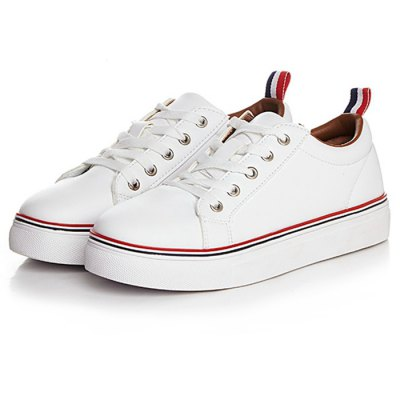 Microfiber Leather White TrainersWomens Sneakers<br>Microfiber Leather White Trainers<br><br>Available Size: 37, 38, 39, 40<br>Closure Type: Lace-Up<br>Color: Green,Red<br>Features: Anti-slip, Breathable, Durable, Sweat-absorbing<br>Gender: Women<br>Highlights: Breathable, Sweat Absorbing, Soft<br>Package Contents: 1 x Pair of White Trainers<br>Package size: 30.00 x 20.00 x 11.00 cm / 11.81 x 7.87 x 4.33 inches<br>Package weight: 0.940 kg<br>Product weight: 0.738 kg<br>Season: Spring, Autumn<br>Sole Material: Rubber<br>Type: Running Shoes<br>Upper Height: Middle