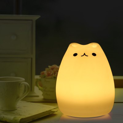 Color Changing Silicone Cat Night Light Baby Nursery Bedside Lamp