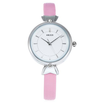 KEZZI K - 1608 Lady Quartz WatchWomens Watches<br>KEZZI K - 1608 Lady Quartz Watch<br><br>Band material: PU Leather<br>Band size: 22.4 x 0.8 cm / 8.82 x 0.31 inches<br>Brand: Kezzi<br>Case material: Alloy<br>Clasp type: Pin buckle<br>Dial size: 3 x 3 x 0.9 cm / 1.18 x 1.18 x 0.35 inches<br>Display type: Analog<br>Movement type: Quartz watch<br>Package Contents: 1 x KEZZI K - 1608 Lady Quartz Watch<br>Package size (L x W x H): 23.40 x 4.00 x 1.90 cm / 9.21 x 1.57 x 0.75 inches<br>Package weight: 0.062 kg<br>Product size (L x W x H): 22.40 x 3.00 x 0.90 cm / 8.82 x 1.18 x 0.35 inches<br>Product weight: 0.022 kg<br>Shape of the dial: Round<br>Watch color: White, Pink, Blue, Peach Red<br>Watch style: Fashion<br>Watches categories: Female table<br>Wearable length: 16.2 - 22.4 cm / 6.38 - 8.82 inches