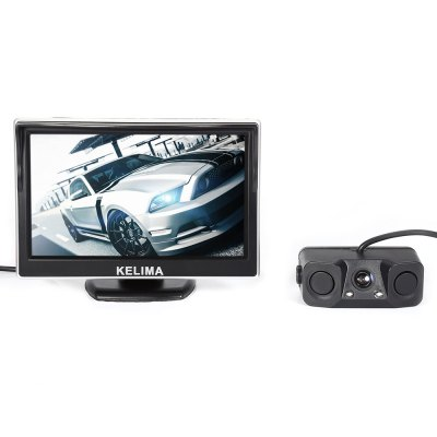 KELIMA 5 inch Rearview Display and CameraCar Monitor<br>KELIMA 5 inch Rearview Display and Camera<br><br>Brand: KELIMA<br>Package Contents: 1 x KELIMA 5 inch Car Rearview Display, 1 x Rearview Camera, 1 x AV Cable, 2 x Power Cable, 1 x Alarm Device, 7 x Installation Gadget, 1 x English User manual<br>Package size (L x W x H): 24.00 x 10.00 x 7.00 cm / 9.45 x 3.94 x 2.76 inches<br>Package weight: 0.455 kg<br>Power Cable Length: 53cm rearview camera cable, 47cm rearview display cable, 2.75cm alarm device cable, 595cm AV cable, two 97cm power cables<br>Product size (L x W x H): 12.00 x 2.00 x 8.30 cm / 4.72 x 0.79 x 3.27 inches<br>Product weight: 0.212 kg<br>Type: Rear View Camera