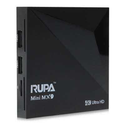 RUPA Mini MX9 TV BoxTV Box &amp; Mini PC<br>RUPA Mini MX9 TV Box<br><br>Brand: RUPA<br>Model: Mini MX9<br>Type: TV Box<br>System: Android 5.1<br>CPU: RK3229<br>Core: Quad Core<br>RAM: 1G<br>RAM Type: DDR3<br>ROM: 8G<br>Color: Black<br>Decoder Format: H.264,H.265<br>Video format: 4K,AVS,H.264,H.265,MPEG1,MPEG2,VC-1,VP9,WMV<br>Audio format: AAC,AC3,APE,DTS,FLAC,MP3,OGG,WAV,WMA<br>Photo Format: BMP,GIF,JPEG,JPG,TIFF<br>Support 5.1 Surround Sound Output: Yes<br>5G WiFi: No<br>Power Supply: Charge Adapter<br>Interface: AV,DC 5V,HDMI,RJ45,TF card,USB2.0<br>Language: Multi-language<br>HDMI Version: 2.0<br>Other Functions: 3D Games,3D Video,DLNA,ISO Files<br>External Subtitle Supported: No<br>System Bit: 64Bit<br>KODI Pre-installed: Yes<br>Power Type: External Power Adapter Mode<br>Product weight: 0.089 kg<br>Package weight: 0.340 kg<br>Product size (L x W x H): 8.40 x 8.40 x 1.50 cm / 3.31 x 3.31 x 0.59 inches<br>Package size (L x W x H): 18.00 x 12.00 x 4.50 cm / 7.09 x 4.72 x 1.77 inches<br>Package Contents: 1 x RUPA Mini MX9 TV Box, 1 x Remote Control, 1 x HDMI Cable, 1 x Power Adapter, 1 x English Manual