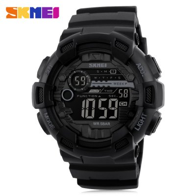 SKMEI 1243 Men Sports WatchLED Watches<br>SKMEI 1243 Men Sports Watch<br><br>Brand: Skmei<br>People: Male table<br>Watch style: Outdoor Sports<br>Available color: Black,Gold,Red<br>Movement type: Digital watch<br>Shape of the dial: Round<br>Display type: Digital<br>Hour formats: 12/24 Hour<br>Case material: PC<br>Band material: PU<br>Clasp type: Pin buckle<br>Special features: Alarm Clock,Countdown function,Date,Day,EL Back-light<br>Water resistance : 50 meters<br>Dial size: 5 x 5 x 1.7 cm / 1.97 x 1.97 x 0.67 inches<br>Band size: 25 x 2.5 cm / 9.84 x 0.98 inches<br>Wearable length: 17 - 22 cm / 6.69 - 8.66 inches<br>Product weight: 0.060 kg<br>Package weight: 0.190 kg<br>Product size (L x W x H): 25.00 x 5.00 x 1.70 cm / 9.84 x 1.97 x 0.67 inches<br>Package size (L x W x H): 7.50 x 7.50 x 8.00 cm / 2.95 x 2.95 x 3.15 inches<br>Package Contents: 1 x SKMEI 1243 Men Sports Watch, 1 x Box