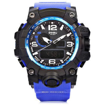 GOBU 1618 Men LED Sports Quartz Digital WatchLED Watches<br>GOBU 1618 Men LED Sports Quartz Digital Watch<br><br>Brand: Gobu<br>People: Male table<br>Watch style: Casual,Outdoor Sports<br>Available color: Black,Blue,Green,Orange,White<br>Movement type: Quartz + digital watch<br>Shape of the dial: Round<br>Display type: Analog-Digital<br>Case material: PC<br>Band material: Rubber<br>Clasp type: Pin buckle<br>Water resistance : 30 meters<br>Dial size: 5.6 x 5.6 x 1.8 cm / 2.2 x 2.2 x 0.71 inches<br>Band size: 25.4 x 2.5 cm / 10 x 0.98 inches<br>Wearable length: 15.5 - 22.6 cm / 6.1 - 8.9 inches<br>Product weight: 0.070 kg<br>Package weight: 0.120 kg<br>Product size (L x W x H): 25.40 x 5.60 x 1.80 cm / 10 x 2.2 x 0.71 inches<br>Package size (L x W x H): 26.40 x 6.60 x 2.80 cm / 10.39 x 2.6 x 1.1 inches<br>Package Contents: 1 x GOBU 1618 Men LED Sports Quartz Digital Watch