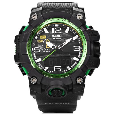 GOBU 1618A Men LED Sports Quartz Digital WatchLED Watches<br>GOBU 1618A Men LED Sports Quartz Digital Watch<br><br>Brand: Gobu<br>People: Male table<br>Watch style: Outdoor Sports<br>Available color: Black,Blue,Green,Orange,White<br>Movement type: Quartz + digital watch<br>Shape of the dial: Round<br>Display type: Analog-Digital<br>Case material: PC<br>Band material: Rubber<br>Clasp type: Pin buckle<br>Special features: Alarm Clock,EL Back-light,Stopwatch<br>Water resistance : 30 meters<br>Dial size: 5.6 x 5.6 x 1.8 cm / 2.2 x 2.2 x 0.71 inches<br>Band size: 25.4 x 2.5 cm / 10 x 0.98 inches<br>Wearable length: 15.5 - 22.6 cm / 6.1 - 8.9 inches<br>Product weight: 0.070 kg<br>Package weight: 0.120 kg<br>Product size (L x W x H): 25.40 x 5.60 x 1.80 cm / 10 x 2.2 x 0.71 inches<br>Package size (L x W x H): 26.40 x 6.60 x 2.80 cm / 10.39 x 2.6 x 1.1 inches<br>Package Contents: 1 x GOBU 1618 Men LED Sports Quartz Digital Watch