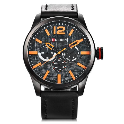CURREN 8247 Men Quartz WatchMens Watches<br>CURREN 8247 Men Quartz Watch<br><br>Band material: Leather<br>Band size: 27 x 2.4 cm / 10.63 x 0.94 inches<br>Brand: Curren<br>Case material: Alloy<br>Clasp type: Pin buckle<br>Dial size: 4.6 x 4.6 x 1.4 cm / 1.81 x 1.81 x 0.55 inches<br>Display type: Analog<br>Movement type: Quartz watch<br>Package Contents: 1 x CURREN 8247 Men Quartz Watch, 1 x Box<br>Package size (L x W x H): 8.50 x 8.00 x 5.30 cm / 3.35 x 3.15 x 2.09 inches<br>Package weight: 0.205 kg<br>Product size (L x W x H): 27.00 x 4.60 x 1.40 cm / 10.63 x 1.81 x 0.55 inches<br>Product weight: 0.075 kg<br>Shape of the dial: Round<br>Watch color: White + Black, Coffee + White, Coffee + Yellow, White + Brown, Black + Orange<br>Watch style: Casual, Fashion<br>Watches categories: Male table<br>Water resistance : Life water resistant<br>Wearable length: 19.5 - 24.3 cm / 7.68 - 9.57 inches