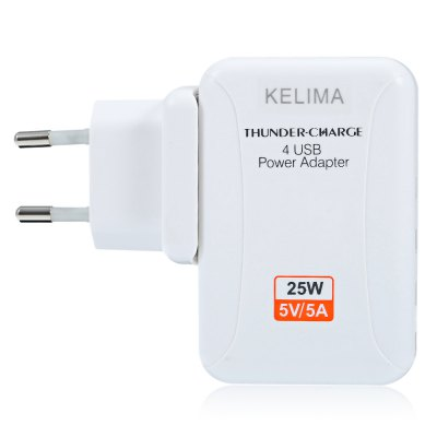 KELIMA  4 USB Power Dock Travel Adapter Wall ChargerChargers &amp; Cables<br>KELIMA  4 USB Power Dock Travel Adapter Wall Charger<br><br>Brand: KELIMA<br>Color: Black,White<br>Features: ALL-in-1<br>Input: 100 - 240V, 0.5A, 50 / 60Hz<br>Material ( Cable&amp;Adapter): ABS<br>Output: 5V 5A ( total )<br>Package Contents: 1 x Power Dock, 1 x English Manual<br>Package size (L x W x H): 10.30 x 5.30 x 9.00 cm / 4.06 x 2.09 x 3.54 inches<br>Package weight: 0.156 kg<br>Plug: EU plug<br>Product size (L x W x H): 9.30 x 2.80 x 7.30 cm / 3.66 x 1.1 x 2.87 inches<br>Product weight: 0.112 kg<br>Type: Base Dock Charger