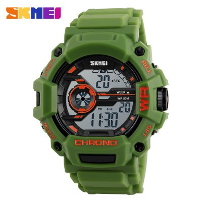 SKMEI 1233 Men Sports WatchLED Watches<br>SKMEI 1233 Men Sports Watch<br><br>Band material: PU<br>Band size: 26 x 2.5 cm / 10.24 x 0.98 inches<br>Brand: Skmei<br>Case material: PC<br>Clasp type: Pin buckle<br>Dial size: 5 x 5 x 1.6 cm / 1.97 x 1.97 x 0.63 inches<br>Display type: Digital<br>Movement type: Digital watch<br>Outer perimeter: 17 - 23 cm / 6.69 - 9.06 inches<br>Package Contents: 1 x SKMEI 1233 Men Sports Watch, 1 x Box<br>Package size (L x W x H): 7.50 x 7.50 x 8.00 cm / 2.95 x 2.95 x 3.15 inches<br>Package weight: 0.130 kg<br>People: Male table<br>Product size (L x W x H): 26.00 x 5.00 x 1.60 cm / 10.24 x 1.97 x 0.63 inches<br>Product weight: 0.060 kg<br>Shape of the dial: Round<br>Watch color: Army Green Camouflage, Blue Camouflage, Black, Blue, Orange, Army Green<br>Watch style: Outdoor Sports<br>Water resistance : 50 meters