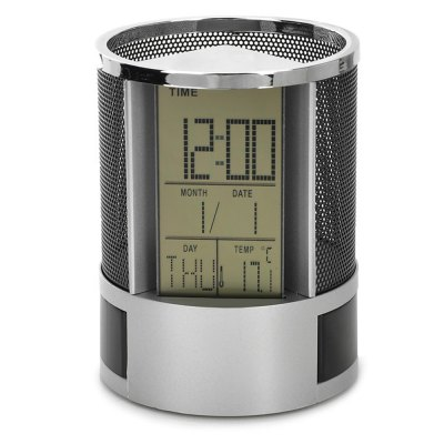 Temperature Calendar Clock Pen Holder Storage BoxDesk Organizers<br>Temperature Calendar Clock Pen Holder Storage Box<br><br>Features: Multi-function<br>Product weight: 0.133 kg<br>Package weight: 0.184 kg<br>Product size (L x W x H): 11.00 x 8.50 x 8.50 cm / 4.33 x 3.35 x 3.35 inches<br>Package size (L x W x H): 12.00 x 9.50 x 9.50 cm / 4.72 x 3.74 x 3.74 inches<br>Package Contents: 1 x Desktop Calendar Temperature Clock