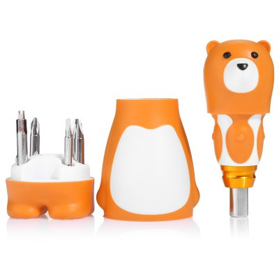 Durable S2 Alloy 6 in 1 Bear Shape Screwdriver for Repairing