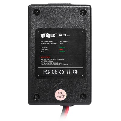 imaxRC A3 Balance ChargerCharger<br>imaxRC A3 Balance Charger<br><br>Brand: imaxRC<br>Package Contents: 1 x Balance Charger, 1 x AC Power Cable, 1 x English Manual<br>Package size (L x W x H): 11.80 x 7.00 x 7.80 cm / 4.65 x 2.76 x 3.07 inches<br>Package weight: 0.224 kg<br>Product size (L x W x H): 5.60 x 9.00 x 3.30 cm / 2.2 x 3.54 x 1.3 inches<br>Product weight: 0.127 kg<br>Type: Balance Charger