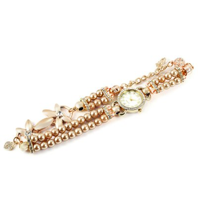 Two-loop Rhinestone Dial Lady Quartz Watch Pearl BraceletWomens Watches<br>Two-loop Rhinestone Dial Lady Quartz Watch Pearl Bracelet<br><br>Band material: Alloys<br>Band size: 41.5 x 3.2 cm / 16.34 x 1.26 inches<br>Case material: Alloy<br>Clasp type: Magnetic Clasp<br>Dial size: 2.8 x 2.8 x 0.7 cm / 1.10 x 1.10 x 0.28 inches<br>Display type: Analog<br>Movement type: Quartz watch<br>Package Contents: 1 x Two-loop Lady Quartz Watch Bracelet<br>Package size (L x W x H): 20.00 x 5.00 x 2.00 cm / 7.87 x 1.97 x 0.79 inches<br>Package weight: 0.100 kg<br>Product size (L x W x H): 41.50 x 3.20 x 0.70 cm / 16.34 x 1.26 x 0.28 inches<br>Product weight: 0.059 kg<br>Shape of the dial: Round<br>Watch style: Bracelet Style<br>Watches categories: Female table