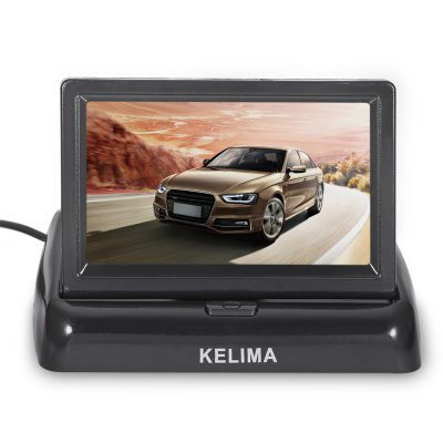 KELIMA 4.3 inch Car Display SystemCar Monitor<br>KELIMA 4.3 inch Car Display System<br><br>Aspect ratio: 16:9<br>Brand: KELIMA<br>Camera Pixels: 648 x 488<br>Connection interface: RCA<br>Connectivity: Wire<br>Display Resolution: 480 x 272<br>Display screen : TFT<br>LED Quantity: 8<br>Lens angle: 120<br>Material: Electronic Components, Glass, Metal, Plastic<br>Minimum Illumination: 0.01Lux<br>Model: KELIMA<br>Night vision : Yes<br>Package Contents: 1 x 4.3 inch Foldable Car Display, 1 x 600cm AV Connecting cable, 2 x Power Cable, 1 x Rear-view Camera, 1 x Display Base Adhesive, 1 x Bilingual Manual in Chinese and English<br>Package size (L x W x H): 15.00 x 12.00 x 6.00 cm / 5.91 x 4.72 x 2.36 inches<br>Package weight: 0.4660 kg<br>Power Cable Length: 150cm<br>Power Supply: 2W<br>Product size (L x W x H): 12.00 x 7.00 x 3.00 cm / 4.72 x 2.76 x 1.18 inches<br>Product weight: 0.1790 kg<br>Type: Camera Monitor, Rear View Camera<br>Video format: NTSC, PAL<br>Video Input : AV1 / AV2<br>Waterproof level: IPX5
