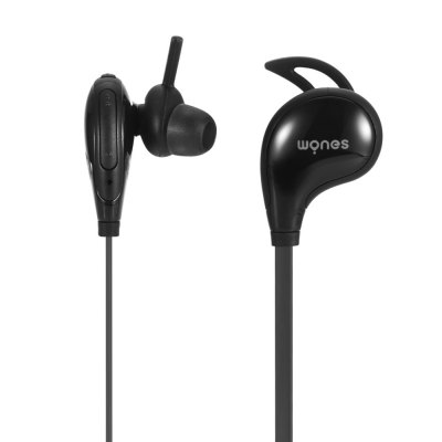 WONES WBT - 06 Earphones Wireless for Sports Noise CancellingEarbud Headphones<br>WONES WBT - 06 Earphones Wireless for Sports Noise Cancelling<br><br>Application: Portable Media Player, Sport, Mobile phone<br>Battery Capacity(mAh): 80mAh<br>Battery Types: Built-in Li-ion battery<br>Bluetooth: Yes<br>Bluetooth Version: V4.1<br>Brand: WONES<br>Charging Time.: 1h<br>Compatible with: Mobile phone<br>Connectivity: Wireless<br>Function: Voice control, Bluetooth, Answering Phone, Noise Cancelling, Song Switching, Sweatproof, Voice Prompt, Microphone<br>Impedance: 32ohms<br>Language: English<br>Material: TPE, PC<br>Model: WBT - 06<br>Music Time: 5h<br>Package Contents: 1 x WONES WBT - 06 Earbuds for Sports, 2 x Pair of Ear Tips, 1 x USB Cable, 1 x English User Manual<br>Package size (L x W x H): 19.00 x 12.00 x 3.50 cm / 7.48 x 4.72 x 1.38 inches<br>Package weight: 0.200 kg<br>Product weight: 0.017 kg<br>Standby time: 200h<br>Talk time: 6h