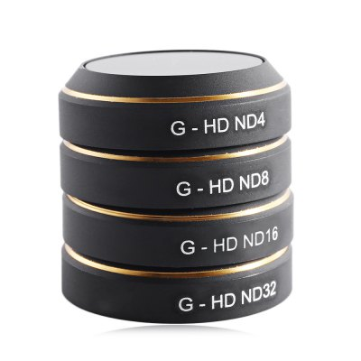G - HD ND4 / ND8 / ND16 / ND32 Neutral Density Lens FilterRC Quadcopter Parts<br>G - HD ND4 / ND8 / ND16 / ND32 Neutral Density Lens Filter<br><br>Compatible with: DJI Mavic Pro Camera<br>Package Contents: 4 x Lens Filter<br>Package size (L x W x H): 6.60 x 6.60 x 1.80 cm / 2.6 x 2.6 x 0.71 inches<br>Package weight: 0.050 kg<br>Type: Lens Filter