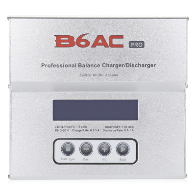 imaxRC B6AC Pro Balance Charger / DischargerCharger<br>imaxRC B6AC Pro Balance Charger / Discharger<br><br>Brand: imaxRC<br>Package Contents: 1 x Balance Charger, 1 x AC Power Cable, 1 x DC Power Cable, 1 x Connection Cable, 1 x English Manual<br>Package size (L x W x H): 21.10 x 18.00 x 5.00 cm / 8.31 x 7.09 x 1.97 inches<br>Package weight: 0.712 kg<br>Product size (L x W x H): 13.50 x 12.50 x 3.50 cm / 5.31 x 4.92 x 1.38 inches<br>Product weight: 0.419 kg<br>Type: Balance Charger