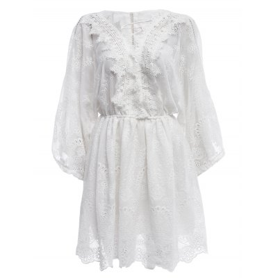 Drawcord Embroidery Pattern Long Sleeve Short Dress