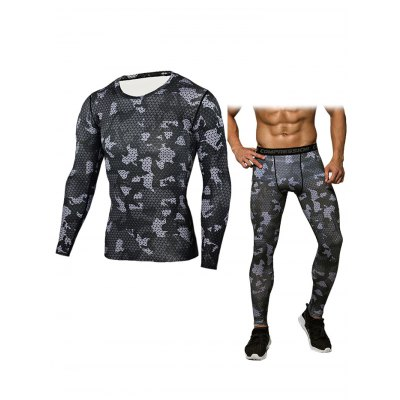Men Grid T-shirt Compression Pants Fitness Training Suit