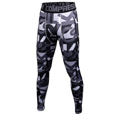 Male Letter Camouflage Print Compression Long Training Pants