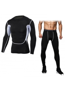 Male Splicing T-shirt Compression Pants Fitness Training Suit