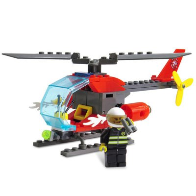 LOZ ABS 89pcs Firefighter Helicopter Building Block DIY Model