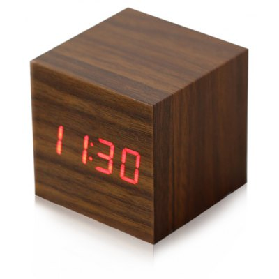 Wooden Square Red LED Digital Alarm Clock