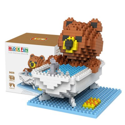 LOZ 350Pcs 9429 Brown Bear Showering Building Block Toy for Enhancing Social Cooperation Ability