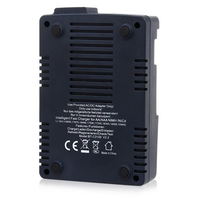 Opus BT - C3100 V2.2 Smart Battery ChargerChargers<br>Opus BT - C3100 V2.2 Smart Battery Charger<br><br>Brand: Opus<br>Charging Cell Qty: 4<br>Charging Cell Type: NiCd, Ni-MH, Lithium Ion<br>Circuit Detection: Yes<br>Compatible: 10440, 14500, 16340, 18650<br>Input Voltage: AC 100~240V 50/60HZ<br>LCD Screen: Yes<br>Model: BT-C3100 V2.2<br>Output Voltage: DC 12V, 3.0A<br>Over Charging Protection: Yes<br>Over Discharging Protection: Yes<br>Over Voltage Protection: Yes<br>Package Contents: 1 x Opus BT - C3100 V2.2 Intelligent Battery Charger, 1 x Power Adapter, 1 x English User Manual<br>Package size (L x W x H): 16.00 x 22.00 x 5.00 cm / 6.3 x 8.66 x 1.97 inches<br>Package weight: 0.5200 kg<br>Plug: EU adapter,UK plug,US adapter<br>Product weight: 0.2340 kg<br>Protected Circuit: Yes<br>Short Circuit Protection: Yes<br>Type: Charger