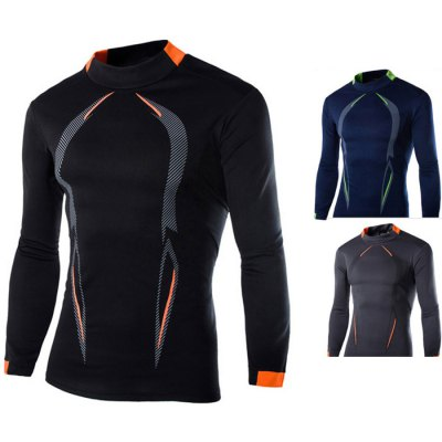 Contrast Color Long Sleeve Muscle Fit T Shirt for Men