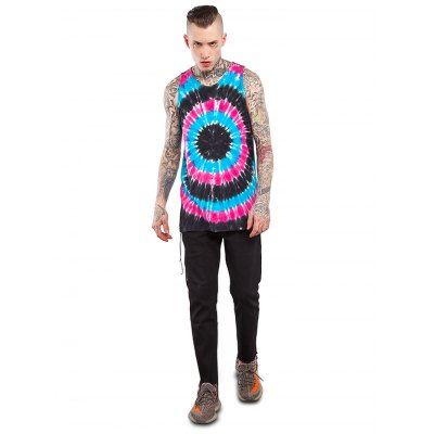 Male Radial-pattern Tie-dyed Print Cotton Sleeveless T-shirt