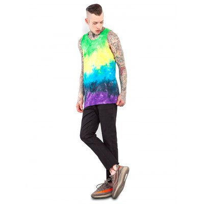 Male Tie-dyed Gradient-color Cotton Sleeveless T-shirt
