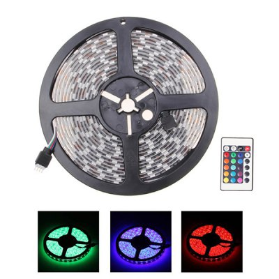 5m RGB 12V 300-LED SMD5050 Waterproof LED Strip Light with Remote Controller