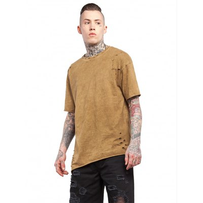 Male Slant-cut Hem Cotton Short Sleeve Destroyed Long T-shirt от GearBest.com INT