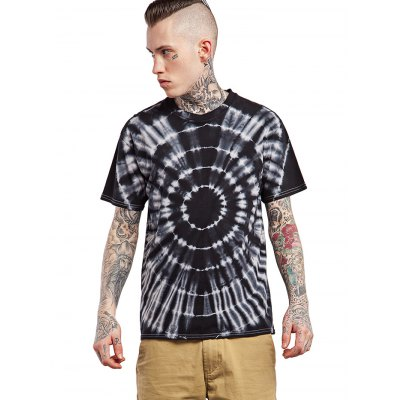 Male Tie-dyed Radial-pattern Cotton Short Sleeve T-shirt от GearBest.com INT
