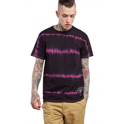 Male Tie-dyed Letter Pattern Cotton Short Sleeve T-shirt