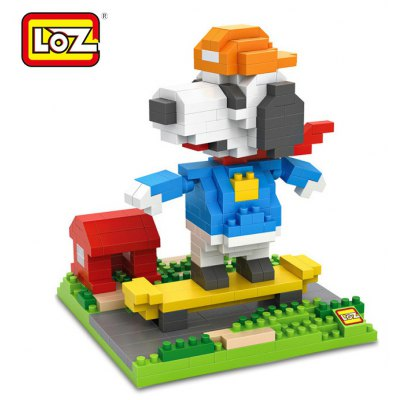 LOZ No. 9524 Skateboarder Snoopy Diamond Block Toy Block Intelligent Toy Fun Game