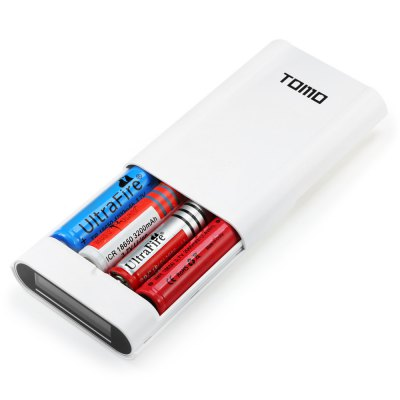 TOMO V8 - 4 18650 Battery ChargerChargers<br>TOMO V8 - 4 18650 Battery Charger<br><br>Brand: Tomo<br>Type: Charger<br>Model: V8-4<br>Plug: USB<br>Charging Cell Type: Lithium Ion<br>Compatible: 18650<br>Charging Cell Qty: 4<br>Input Voltage: DC 5V<br>Output Voltage: DC 5V<br>Input Current: 2A<br>Output Current: 1A / 2A<br>LCD Screen: Yes<br>Circuit Detection: Yes<br>Product weight: 0.1080 kg<br>Package weight: 0.1810 kg<br>Product size (L x W x H): 13.00 x 2.60 x 8.30 cm / 5.12 x 1.02 x 3.27 inches<br>Package size (L x W x H): 22.00 x 4.00 x 12.00 cm / 8.66 x 1.57 x 4.72 inches<br>Package Contents: 1 x TOMO V8-4 Battery Charger, 1 x USB Cable