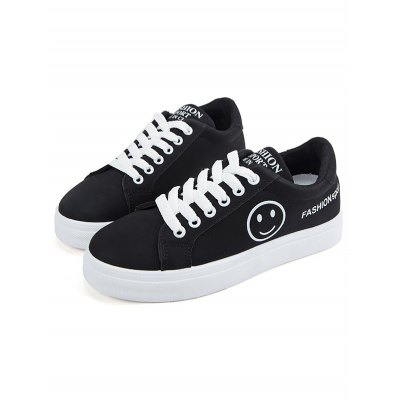 Female Letter Print Lace Up Rubber Sole Skateboarding Shoes