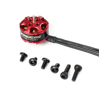 KingKong 1103 7800KV Mini Brushless Motor SetESC<br>KingKong 1103 7800KV Mini Brushless Motor Set<br><br>Brand: KingKong<br>Burst Current: 10A<br>Compatible Propeller Sizes: 45 - 65mm / 2 - 3 inches<br>Continuous Current: 6A<br>CW / CCW: CCW,CW<br>Firmware: BLHeli-S<br>Functions: DShot600, Multishot, Oneshot42, DShot300, DShot150, Oneshot125<br>KV: 7800<br>Model: 1103<br>Motor Type: Brushless Motor<br>No. of Cells: 1 - 3S<br>Operating Voltage / Current: 3.7 - 11.1V<br>Package Contents: 4 x Motor, 4 x ESC, 1 x Pack of Screws<br>Package size (L x W x H): 5.50 x 3.00 x 2.50 cm / 2.17 x 1.18 x 0.98 inches<br>Package weight: 0.0600 kg<br>Shaft Diameter: 1mm<br>Type: Motor Set, ESC