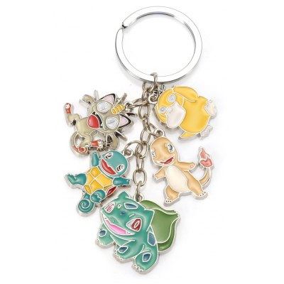 5-in-1 Cartoon Animal Character Key Chain