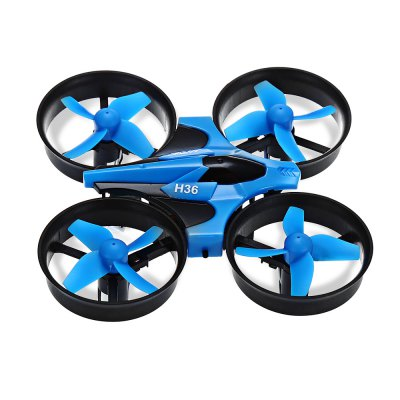 JJRC H36 2.4GHz 4CH 6 Axis Gyro RC QuadcopterRC Quadcopters<br>JJRC H36 2.4GHz 4CH 6 Axis Gyro RC Quadcopter<br><br>Battery: 3.7V 150mAh<br>Brand: JJRC<br>Channel: 4-Channels<br>Charging Time.: 30 - 50 minutes<br>Detailed Control Distance: 30m<br>Features: Radio Control<br>Flying Time: 5~6mins<br>Functions: Up/down, Turn left/right, Speed up, Sideward flight, One Key Automatic Return, Headless Mode, 3D rollover<br>Kit Types: RTF<br>Level: Beginner Level<br>Model Power: 1 x Lithium battery(included)<br>Package Contents: 1 x RC Quadcopter, 1 x Transmitter, 1 x USB Cable, 4 x Spare Blade, 1 x English User Manual<br>Package size (L x W x H): 14.00 x 8.60 x 11.00 cm / 5.51 x 3.39 x 4.33 inches<br>Package weight: 0.2300 kg<br>Product size (L x W x H): 9.50 x 9.50 x 5.00 cm / 3.74 x 3.74 x 1.97 inches<br>Product weight: 0.0220 kg<br>Remote Control: Radio Control<br>Transmitter Power: 2 x 1.5V AA battery(not included)<br>Type: Quadcopter
