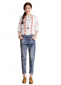 Female Destroyed Ninth Boyfriend Pants Leisure Baggy Jeans